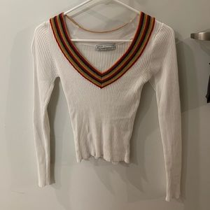 Urban Outfitters White Sweater with Rainbow V-neck